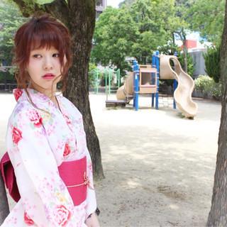 編み込み お祭り ヘアアレンジ セミロング ヘアスタイルや髪型の写真・画像