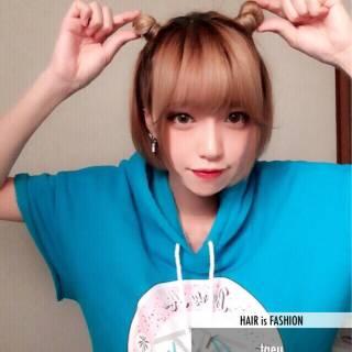ショート セルフヘアアレンジ ヘアスタイルや髪型の写真・画像