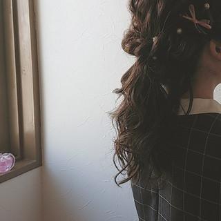 ポニーテール ゆるふわ ロング 結婚式 ヘアスタイルや髪型の写真・画像