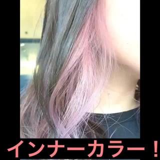 パステルカラー 透明感カラー ピンク セミロング ヘアスタイルや髪型の写真・画像