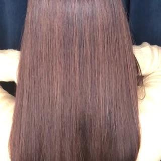 縮毛矯正 ロング ストレート ナチュラル ヘアスタイルや髪型の写真・画像