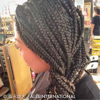コーンロウ ヘアアレンジ 編み込み 三つ編み ヘアスタイルや髪型の写真・画像