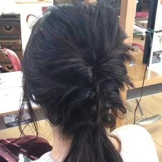 ロング 黒髪 簡単ヘアアレンジ ヘアアレンジ ヘアスタイルや髪型の写真・画像