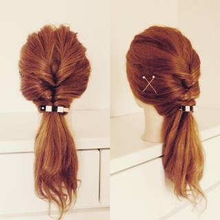 セルフヘアアレンジ ヘアアレンジ ショート ガーリー ヘアスタイルや髪型の写真・画像