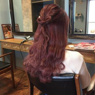 ゆるふわ ロング レッド ピンク ヘアスタイルや髪型の写真・画像