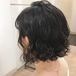 ボブ ショートボブ パーマ ウェットヘア ヘアスタイルや髪型の写真・画像