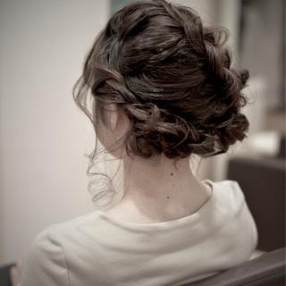 編み込み パーティ ヘアアレンジ ガーリー ヘアスタイルや髪型の写真・画像