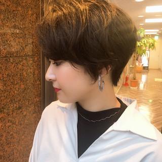 黒髪 ハンサムショート ナチュラル ショートヘア ヘアスタイルや髪型の写真・画像 ヘアスタイルや髪型の写真・画像
