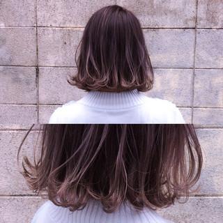 モード ボブ ハイライト アッシュ ヘアスタイルや髪型の写真・画像