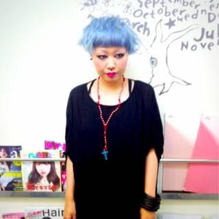 アッシュ ストリート ボブ ブルー ヘアスタイルや髪型の写真・画像