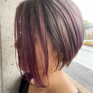 ピンクラベンダー グレージュ 透明感カラー ショート ヘアスタイルや髪型の写真・画像