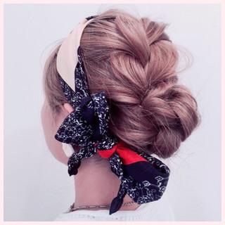 ヘアアレンジ ショート 編み込み セミロング ヘアスタイルや髪型の写真・画像