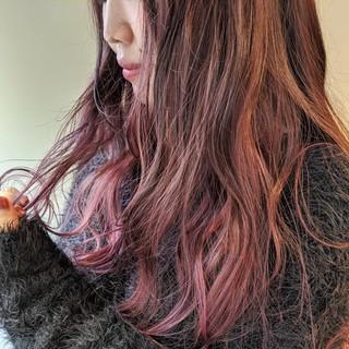 ピンクバイオレット ハイトーン デザインカラー ラベンダーピンク ヘアスタイルや髪型の写真・画像