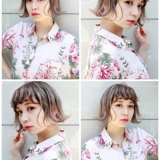 ハイライト 切りっぱなし 外国人風 ストリート ヘアスタイルや髪型の写真・画像