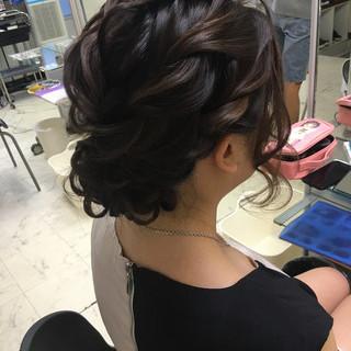 二次会 ヘアアレンジ セミロング 編み込み ヘアスタイルや髪型の写真・画像