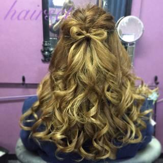ナチュラル ヘアアレンジ ヘアアクセ バレッタ ヘアスタイルや髪型の写真・画像