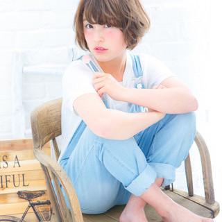 前髪あり ガーリー ピュア ショート ヘアスタイルや髪型の写真・画像