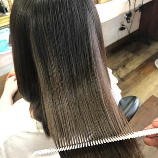 縮毛矯正 ロング 髪質改善カラー 美髪 ヘアスタイルや髪型の写真・画像