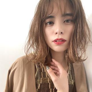 大人かわいい ブランジュ ミディアム シースルーバング ヘアスタイルや髪型の写真・画像