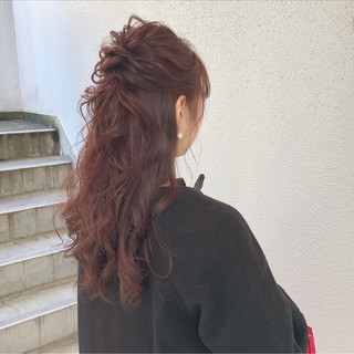 大人かわいい ハーフアップ デート エレガント ヘアスタイルや髪型の写真・画像