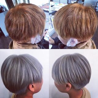 ストリート ショート シルバーグレー ホワイトシルバー ヘアスタイルや髪型の写真・画像