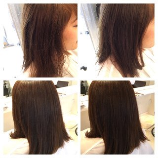 簡単 サラサラ セミロング ナチュラル ヘアスタイルや髪型の写真・画像