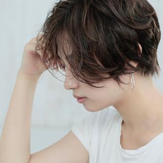 小顔ショート ナチュラル ショートボブ デート ヘアスタイルや髪型の写真・画像