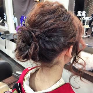 袴 ヘアアレンジ 編み込み 謝恩会 ヘアスタイルや髪型の写真・画像