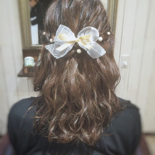 ミディアム 二次会 編み込み ヘアアレンジ ヘアスタイルや髪型の写真・画像