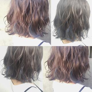 暗髪 グラデーションカラー ストリート ミディアム ヘアスタイルや髪型の写真・画像
