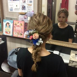ナチュラル ヘアアレンジ セミロング 結婚式 ヘアスタイルや髪型の写真・画像