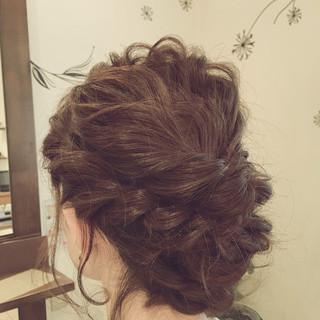 ゆるふわ ヘアアレンジ くるりんぱ セミロング ヘアスタイルや髪型の写真・画像 ヘアスタイルや髪型の写真・画像