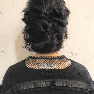 簡単ヘアアレンジ 結婚式 アンニュイほつれヘア ショート ヘアスタイルや髪型の写真・画像