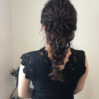 結婚式 ヘアセット 編みおろしヘア ヘアアレンジ ヘアスタイルや髪型の写真・画像