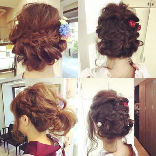 夏 波ウェーブ 編み込み お祭り ヘアスタイルや髪型の写真・画像