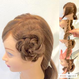 三つ編み ロング 甘め 簡単ヘアアレンジ ヘアスタイルや髪型の写真・画像