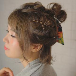 ヘアアレンジ ハーフアップ お団子 簡単ヘアアレンジ ヘアスタイルや髪型の写真・画像
