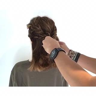 フェミニン 夏 色気 ボブ ヘアスタイルや髪型の写真・画像