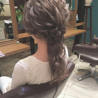 結婚式 ロング 大人かわいい ナチュラル ヘアスタイルや髪型の写真・画像