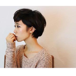 大人女子 ヘアアレンジ 黒髪 ショート ヘアスタイルや髪型の写真・画像