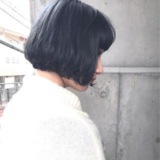 ネイビー ストリート ネイビーアッシュ グレー ヘアスタイルや髪型の写真・画像 ヘアスタイルや髪型の写真・画像