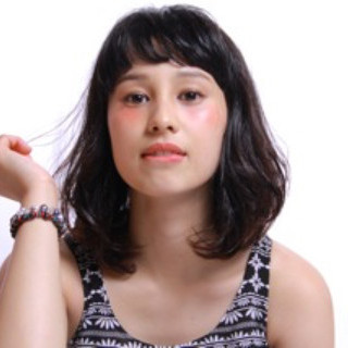 ショートバング オン眉 ナチュラル 色気 ヘアスタイルや髪型の写真・画像 ヘアスタイルや髪型の写真・画像