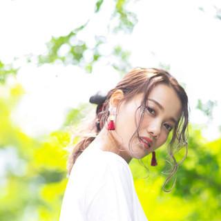 デート アンニュイほつれヘア 簡単ヘアアレンジ ヘアアレンジ ヘアスタイルや髪型の写真・画像