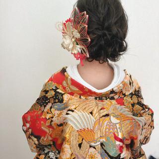 フェミニン 和装ヘア ミディアム ヘアセット ヘアスタイルや髪型の写真・画像
