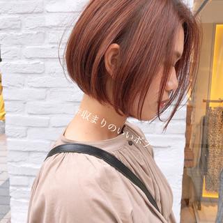 ショートボブ ピンクベージュ 簡単スタイリング ボブ ヘアスタイルや髪型の写真・画像