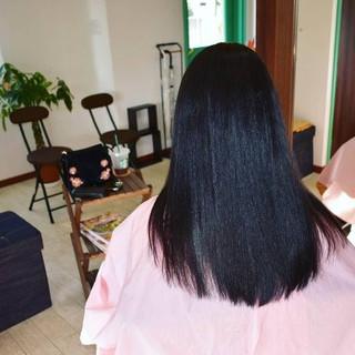ナチュラル ロング ブルー ブルーブラック ヘアスタイルや髪型の写真・画像