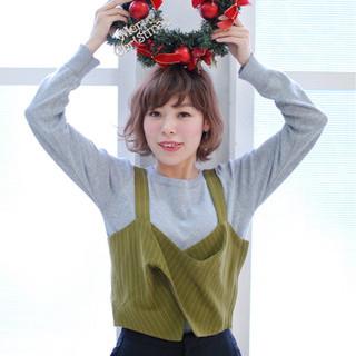 冬 ショートボブ ナチュラル クリスマス ヘアスタイルや髪型の写真・画像