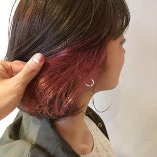 コリアンピンク ピンクアッシュ インナーカラー インナーカラーレッド ヘアスタイルや髪型の写真・画像 ヘアスタイルや髪型の写真・画像