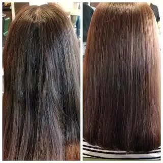 縮毛矯正 ナチュラル 艶髪 ミディアム ヘアスタイルや髪型の写真・画像