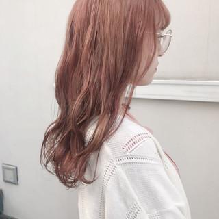 ガーリー オレンジカラー ダブルカラー ピンクベージュ ヘアスタイルや髪型の写真・画像